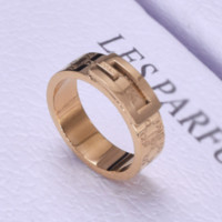 GUCCI New more letter titanium steel couple ring Gold