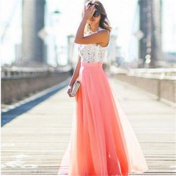 Women Beauty Skirts Fashion Solid Summer Long Skirt Chiffon Stretch High Waist Maxi Skater Flared Pleated Skirts
