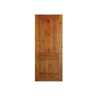 Krosswood Doors 24 in. x 80 in. Rustic Knotty Alder 2-Panel Square Top Solid Wood Stainable Interior Door Slab-AE-3052480SLB - The Home Depot