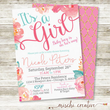 "Watercolor Floral Baby Shower Invitation in Pinks, Corals and Aqua, 5"" x 7"""