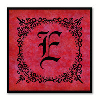 Alphabet E Red Canvas Print Black Frame Kids Bedroom Wall Décor Home Art