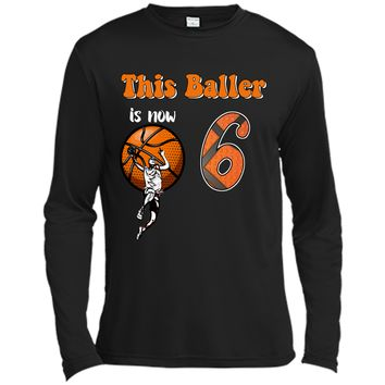 6th Birthday Basketball T-Shirt Funny 6 Years Old Gift Long Sleeve Moisture Absorbing Shirt