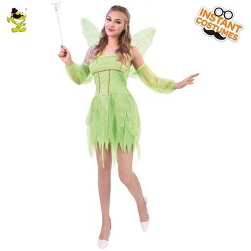 Adult Tinker Bell Costume Carnival Role Play Green Elf Outfits for Women Cosplay Gorgeous Stunning Fancy Fairy Dress Costumes