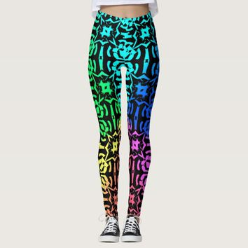 Rustic Colorful Funky pattern Leggings