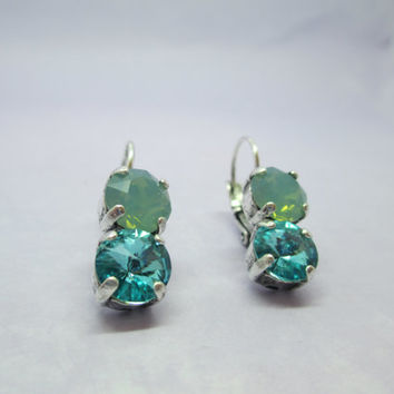 swarovski crystal earrings, designer inspired  double drops, blue and pacific opal, lever backs,  antique silver #290.