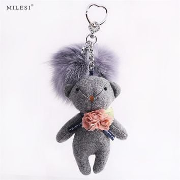 Milesi Pompom Key Chain Ring For Women Handbag Charms Keyring Pom Pom Funny Pendant Keychain Fur Accessories BZ017