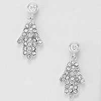 Cubic Zirconia Hamsa Drop Earrings Silver