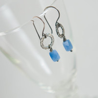Silver Earrings, Twisted Wire Hoop, Aqua, Blue Chalcedony, Small, Simple, Everyday, Sundance Style, Gemstone, Eco Friendly Recycled Silver