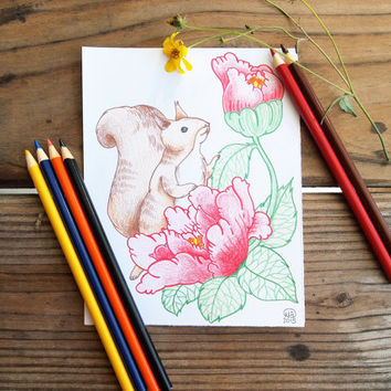 Original Illustration of Squirrel with Peony Flowers - 5.5 x 7 inches