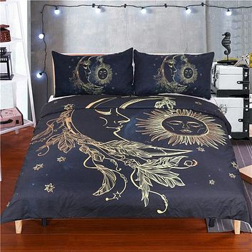 3 Pieces Gold Moon Accompanys Sun Duvet Cover With Pillowcase Black Dark Blue Bedding Set King Size Quilt Cover