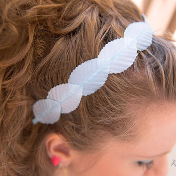 Pastel Blue Leaf Headband, Blue Leaf Crown, BoHo Headband, Kawaii Headband, Kawaii Hair Accessories, Bridal Headband, Bridesmaid Hair Piece