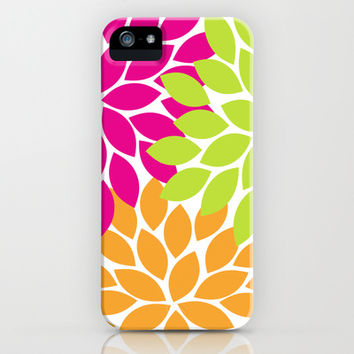 Bold Colorful Hot Pink Lime Orange Dahlia Flower Burst Petals iPhone & iPod Case by TRM Design