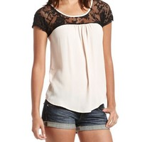 Lace Inset Tie Back Top