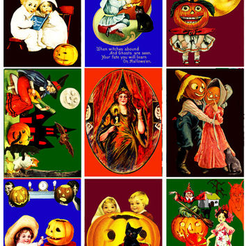 Vintage Halloween clip art collage sheet digital graphics 2 3/8  x 3 3/8 inches crafts scrapbooking children,  jacko lantern, witches