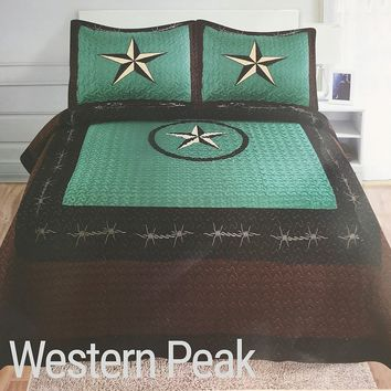 Western Peak 3 Piece Western Texas Lone Star Cabin Lodge Barb Wire Luxury Quilt Bedspread Coverlet Comforter Turquoise Brown Set (King)