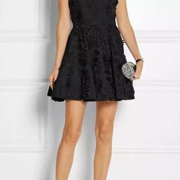 Alice Olivia Tevin Angular Racer Back Party Lace Mini Dress