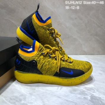 HCXX N687 Nike Zoom KD11 Mid XI Men Actual Baketball Shoes Yellow Blue Black