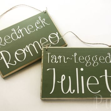 8x6 Romeo Juliet His Hers Wood Signs (Set of 2)