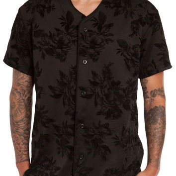 FLOCKED FLORAL NEOPRENE BASEBALL JERSEY