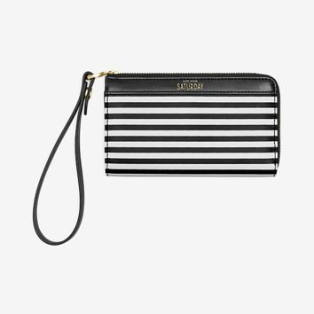 Kate Spade Saturday Coated Canvas Wristlet In Crosswalk Stripe