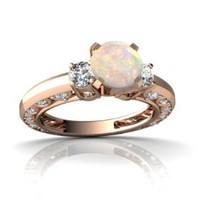 14kt Rose Gold Opal and Diamond 6mm Round Art Deco Ring - Size 5.5