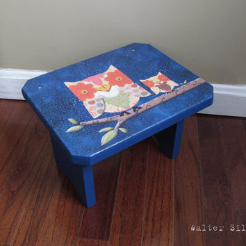 Owl Family Footstool - Rustic Cottage Owl Bench - Polka Dotted Owl's Bench - Kids Bathroom Stool - Modern baby decoration
