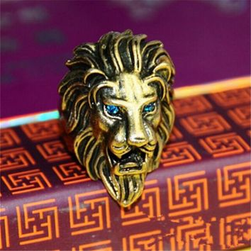 brand design High Quality Stainless Steel Lion Head Finger Ring For Men Red Crystal Eyes Punk Style Fashion Male Jewelry 2016