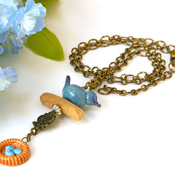 Blue Necklace, Blue Bird Necklace, Lampwork Bird, Handcrafted Necklace, Short Blue Necklace, Antique Brass, Adjustable Necklace, Bird Lover