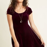 Velvet Vibes Skater Dress in Burgundy