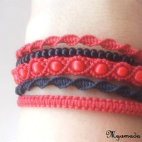 5  micromacrame bracelet  red and  black / free shipping