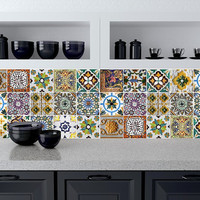 Tile decals Stickers - Tile Decals - Tile decals for Kitchen or Bathroom - PACK OF 20 - Mexico, Morocco, Portugal, Spain, Mosaic #10