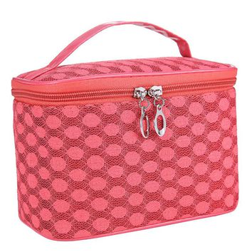 Fashion Luxury Quartet Dot Gauze Printed Women Portable Cosmetic Bag Zipper Large Storage Ladies Handbag Travel Makeup Bag