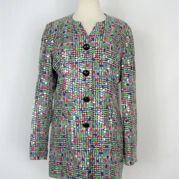 Silk Sequin Blazer Jacket Vintage 80's Anne Crimmins for Umi Collections 8