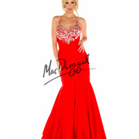 Fabulouss by Mac Duggal 65075F Corste Back Red Halter Mermaid Dress Prom 2015