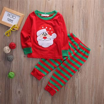 red fall winter santa 2pcs infant toddler Baby clothing Girls Kids Christmas Tops Striped Long Pant Outfit Clothes Set