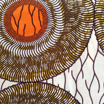 African fabric, Orange and Brown Wax print, circles African print, African material, African fabric, 100% cotton
