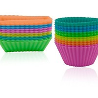 Ipow Silicone Cupcake Baking Muffin Cups Liners Molds Sets,24pack