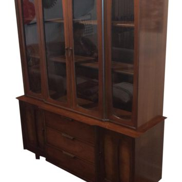 Mid-century Modern Walnut China Cabinet by Stanley