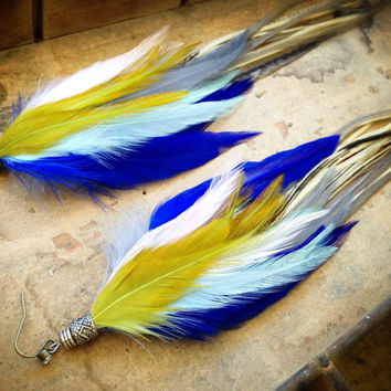 Isleta Extra Long Feather Earrings