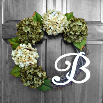 Etsy Wreaths, Green Hydrangea Wreath, Monogram Wreath, Everyday Wreaths, Summer Door Wreaths, Outside Door Wreaths, Wreaths for Doors