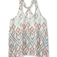 Sheer Chevron Diamond Looped Racerback Tank