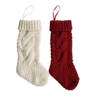 Christmas Stockings Socks Woolen Yarn Knit Candy Gift Bag Xmas Tree Decor Christmas Decorations Festival Party Ornament
