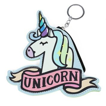 Adorable Cutout Skyblue Rainbow Unicorn Keychain Coin Purse with Zippered Closure and Keyring