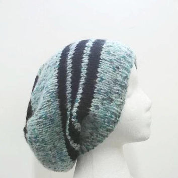 Knit slouch hat teal multicolor and black stripes large size 5322