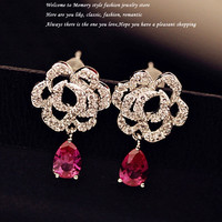 Luxury Royal Sparkling sapphire rose red Cubic zirconia Drop Earrings with micro Austria Crystal Evening Party Women Jewelry