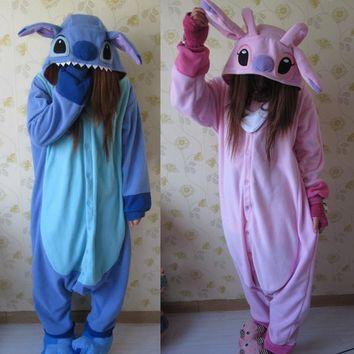 animal cosplay pajamas costume women Onesuits for adults party pyjamas one piece blue pink stitch Onesuit lilo and stitch costumes