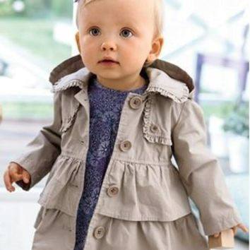 Trendy SY011 2018 new girl coat girl's fashion outwear kids trench hoodies jacket top quality  kids clothes retail AT_94_13