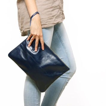 Navy leather clutch by Leah Lerner