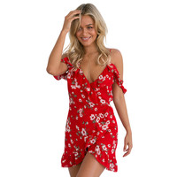 Print Florals Dress Spaghetti Strap Off Shoulder Ruffles Dresses Waise Irregular Hem Red Dress Beach Wear Bohemian Style LJ8309T