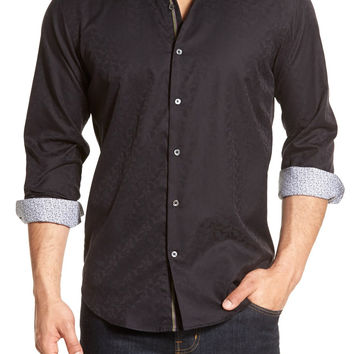 Shaped Fit Paisley Jacquard Sport Shirt